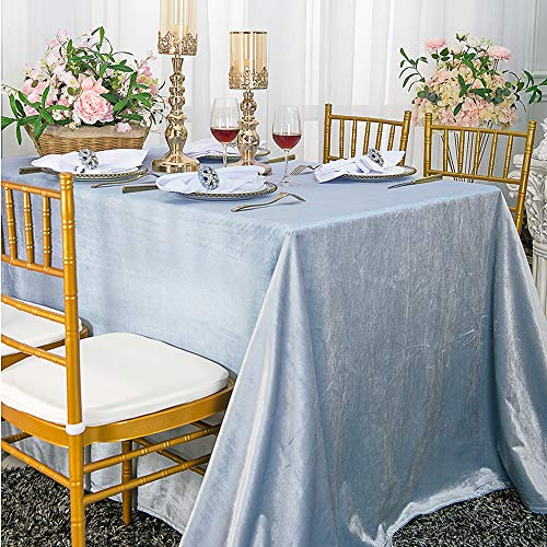 Wedding Linens Inc. 90' x 156' Italian Velvet Tablecloths for Restaurant Kitchen Dining Wedding Party Banquet Events - Dusty Blue