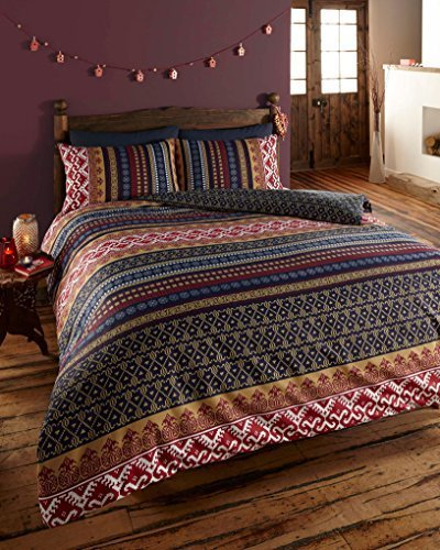 LUXURY INDIAN ETHNIC PRINT DOUBLE BED DUVET QUILT COVER BEDDING SET ORKNEY MULTI by De Cama