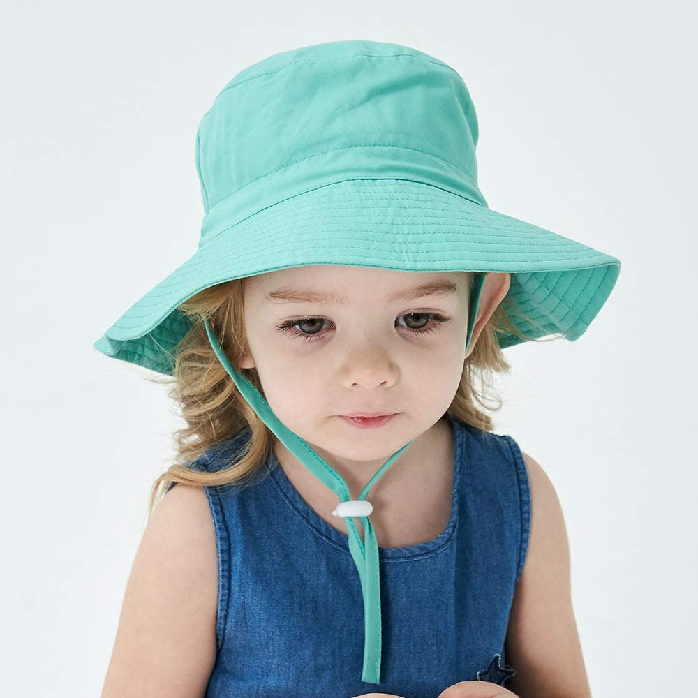 Ammiko Baby Sun Hat Toddler Summer Beach Hats UPF 50+ Sun Protection Baby Hats Wide Brim Bucket Hat for Baby Girls Boys