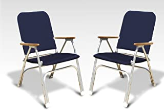 FORMA Marine Set of 2 Navy Blue Deck Chairs, Boat Chairs, Folding, Padded, Anodized, Aluminium, Model Venus V100NB