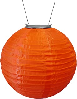 "Allsop Home and Garden Soji Original 10"" Round LED Outdoor Solar Lantern, Handmade with Weather-Resistant UV Treated Nylon, Stainless Steel Hardware, Auto sensor on/off, Chinese Style Globe Light, Orange (1-count)"