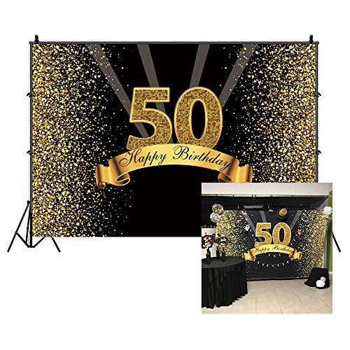 Cassisy 1,5x1m Vinilo Cumpleaños Telon de Fondo 50 telón de Fondo de cumpleaños Lentejuelas Brillantes Rayos Oro Negro Fondos para Fotografia Party Photo Studio Props Photo Booth