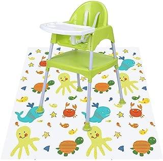 Highchair Splash Mat,Foonee Non-Slip Baby Splat Mat for Under High Chair Arts Crafts Playtime, Waterproof Floor Spill Mat Mess Mat and Table Cloth - 51 * 51 inch
