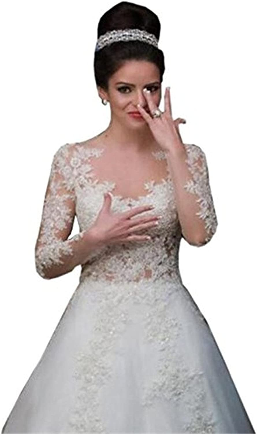 Weiterstar Women's Country Sheer Neck Long Sleeves Applique Lace A Line Wedding Dress
