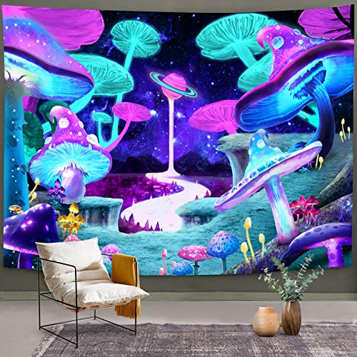 """Bonsai Tree Psychedelic Mushroom Tapestry, Trippy Colorful Shrooms Forest Wall Hanging, Cool Blacklight Abstract Galaxy Space Fantasy Plants Wall Decor for Bedroom College Home Decorations, 51""""x59"""""""