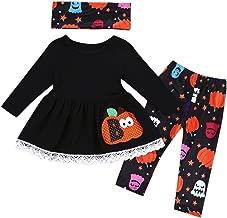 Franterd 3Pcs Halloween Clothes Sets, Baby Pumpkin Tops +Scarves Halloween Tutu Long Pants Outfits