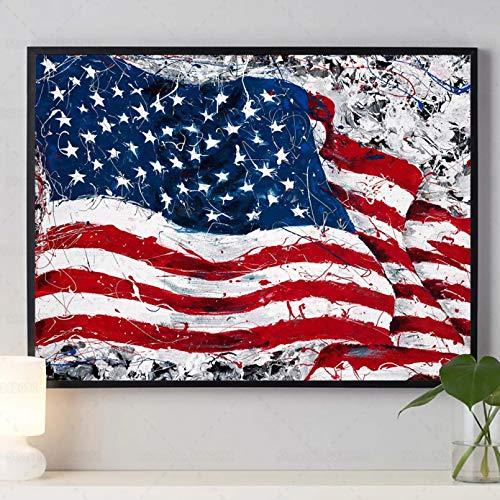 KKMMZ Arte De La Bandera Americana Taladro Completo Cuadrado Diamante Pintura Patriótica Bandera De Estados Unidos Rojo Blanco Y Azul Bordado Punto De Cruz Decoración De Pared-30X40cm