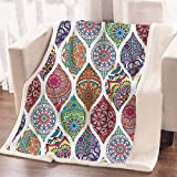 ARIGHTEX Boho Colorful Blanket Morrocan Chic Mandala Paisley Fleece Blanket Soft Plush and Fuzzy Pink Teal Blue Green Yellow Bohemian Patchwork Blanket for Couch Sofa Bed (60 x 80 Inches)