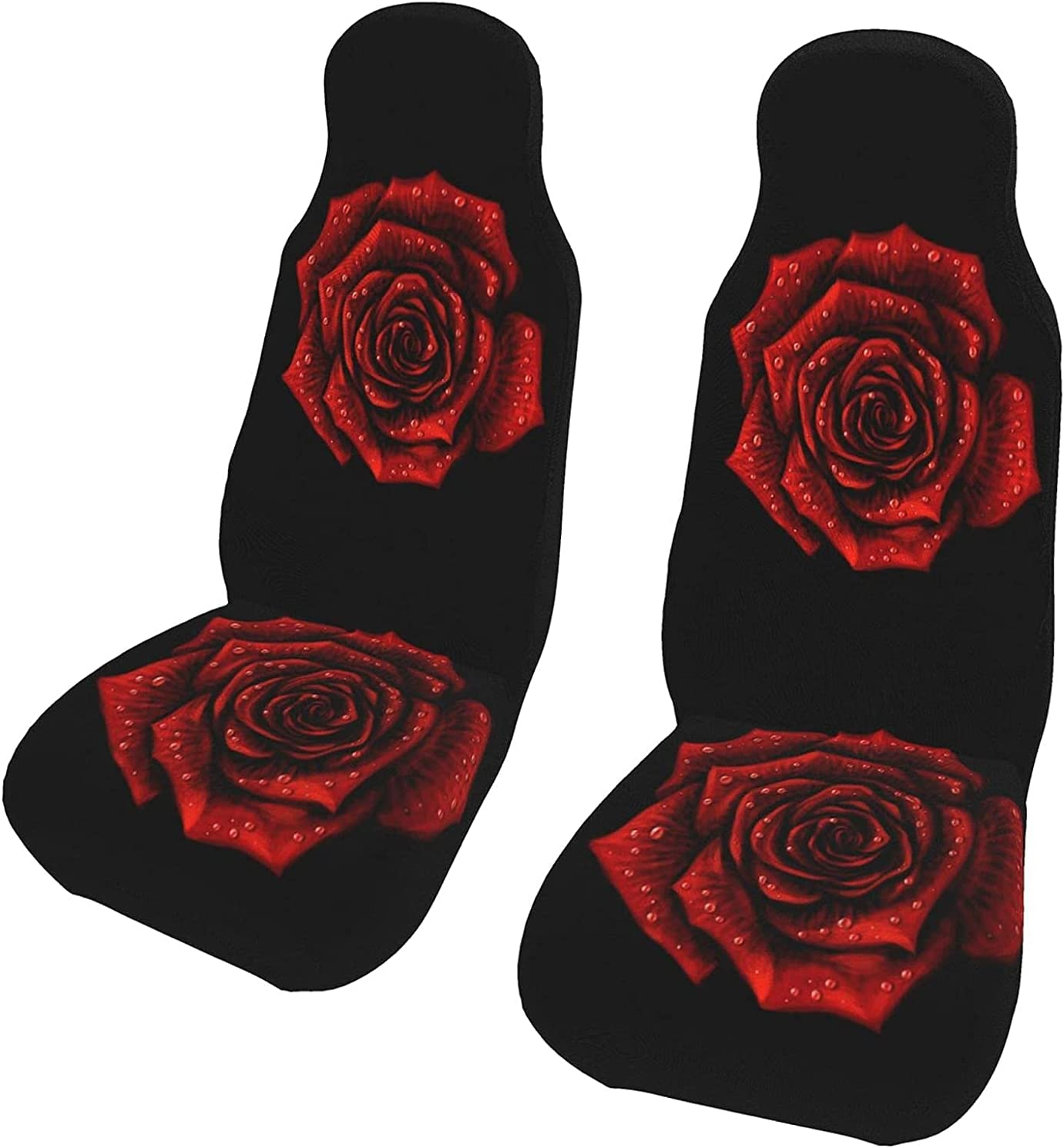 Red Rose Recommended with New life Drops 2 Pcs Covers Car Seat Vehicle Set Front