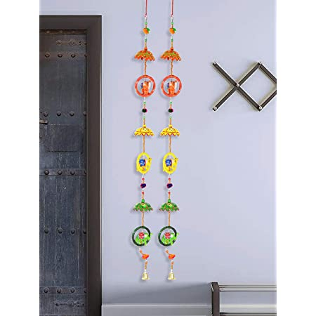 DreamKraft 'Rajasthani' Elephant Ring with Umbrella Door Hangings , Set of 2 , Multicolor