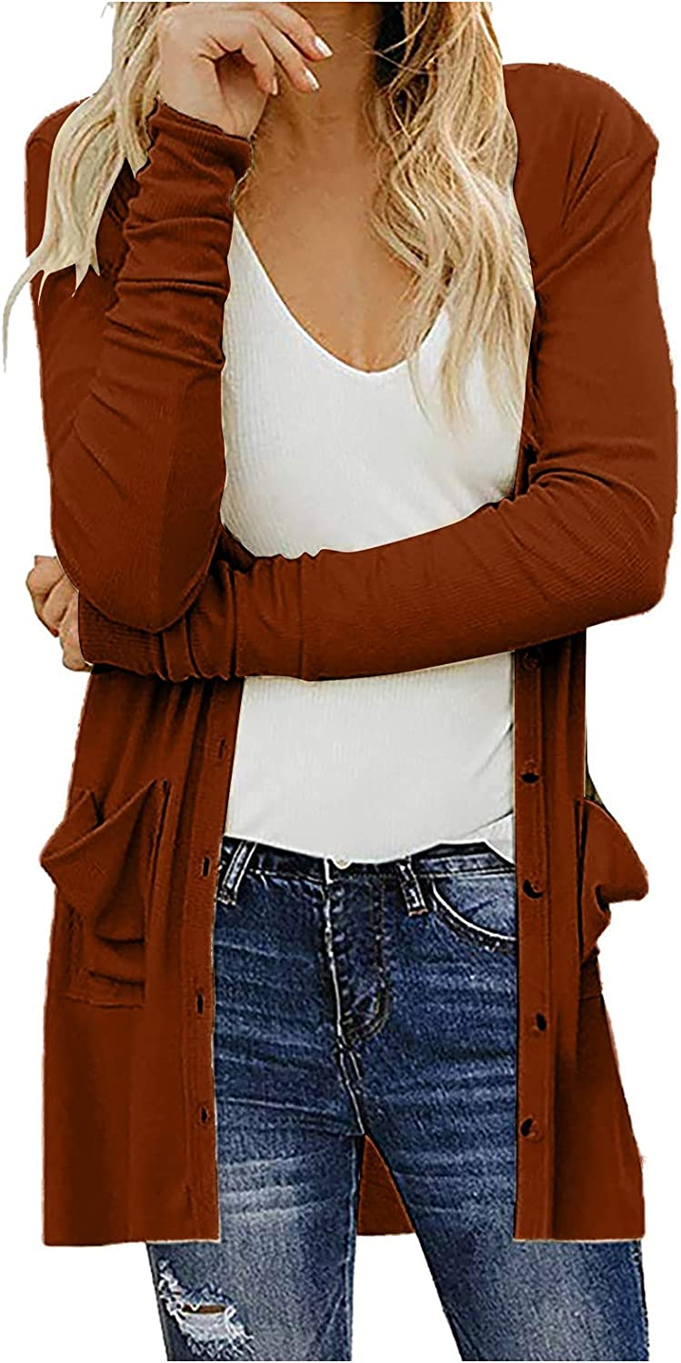 YQRDSHJS Women's Casual Soft Comfy Long Sleeves Knitting Cardigan Open Front Lightweight Sweater Outwear Coats with Pocket