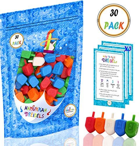 Hanukkah Dreidels 30 Bulk Pack Multi-Color Plastic Chanukah Draydels With English Transliteration In Reusable Ziplock Bag- Includes 3 Dreidel Game Instruction Cards (30-Pack)