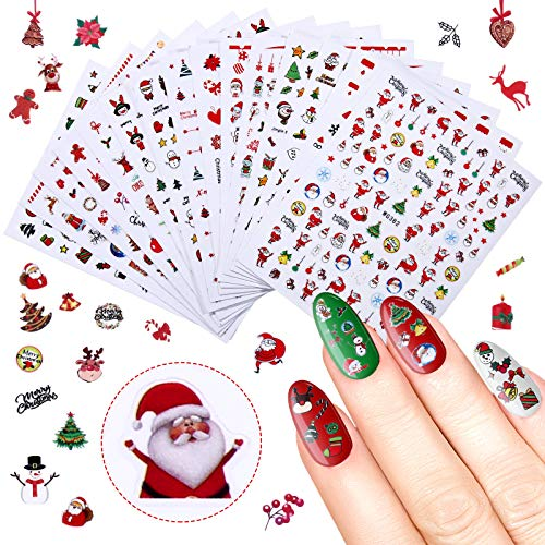 1300 Pieces Christmas Nail Art Sticker 3D Christmas Self-Adhesive Nail Decal Snowflake Tree Reindeer Santa Nail Art Sticker for Women Girls Christmas Nail Art Decoration, 16 Sheets Large Size