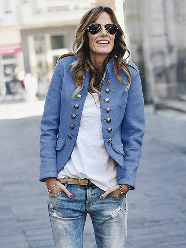Tomwell Damen Blazer Elegant Anzugjacke Mantel mit Knopfleiste Military Blazer Lang Blazer Slim Fit Blazer Freizeit Stehkragen Business Büro Anzug Jacken Blau