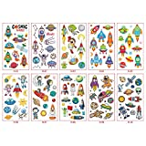 Astronauts, outer space , rocket, spaceshipTemporary Tattoos for Kids,Birthday Party Games,Party Favors and Birthday Decorations for Boys,outer space Fake Tattoos Stickers Accessories gift for boy (10 Sheets)