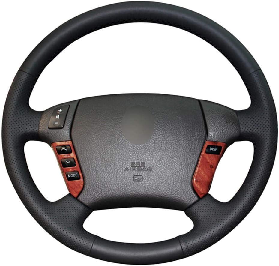 VIdisp Sale price Black PU Artificial Leather Louisville-Jefferson County Mall Hand-Sewn car Steering Wheel