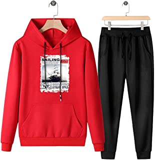 Mens Tracksuit Set Gym Jogging Bottoms Casual Joggers Sports Sweatsuit with Pockets,Red,L