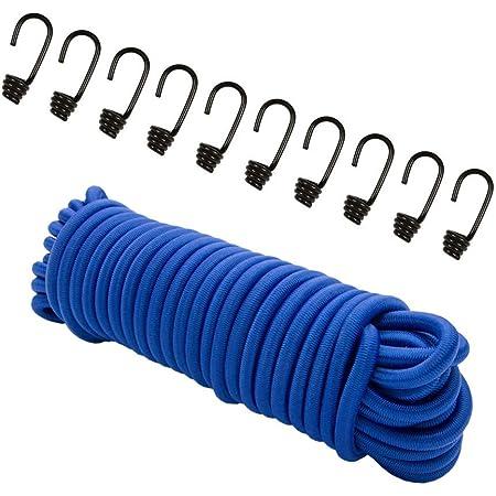 8mm Expander corde Bleu 20m + 10Crochet spiralé Corde élastique planifier Corde Crochet