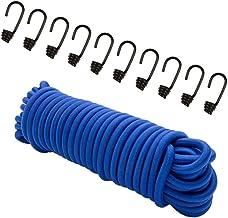 8 mm expandertouw blauw 20 m + 10 spiraalhaken rubberen koord dekzeil haken