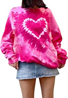 Janly Clearance Sale Womens Blouse Top, Women's Tie-Dye Sweatshirt Long Sleeve Round Neck Heart Retro Pullover Top for Sum...