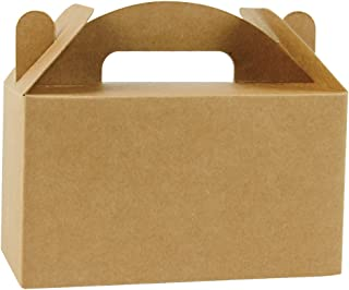 LaRibbons 24 Pack Small Treat Gift Boxes - 4 x 2.5 x 2.5 inches Brown Paper Box Recycled Kraft Gift Box Birthday Party Shower Favor Box