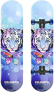 Skateboard Complete Skateboard, Extreme Skateboard 7 Deck, Beginner and Children Skateboard (Butterfly Tiger)