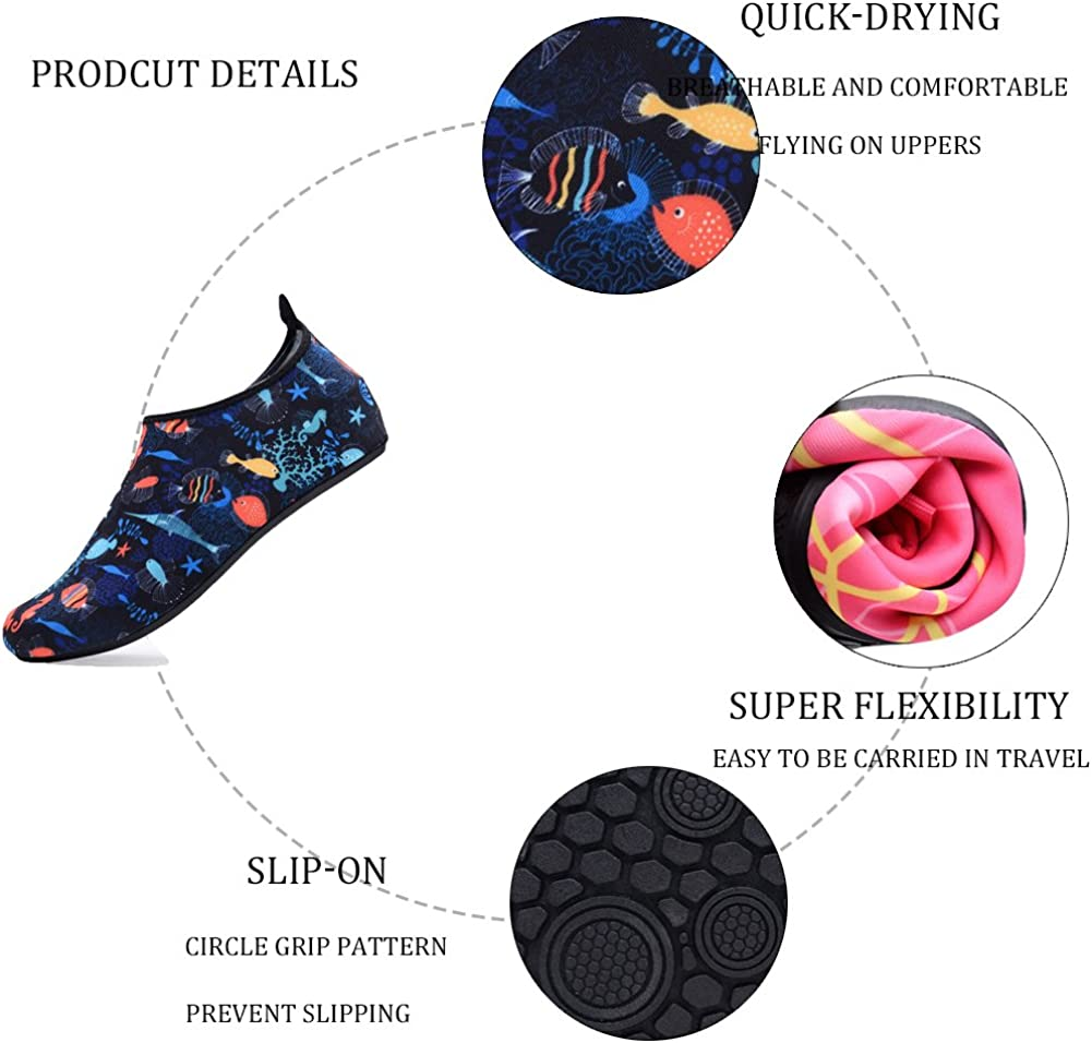 FASHOE Kids Swim Shoes Quick Dry Barefoot Socks Toddler Water Shoes for Babys Boys Girls