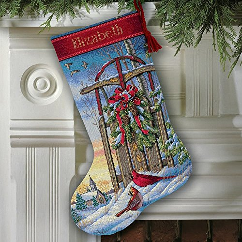 Dimensions Needlecrafts Counted Cross Stitch, Christmas Sled Stocking (8819)