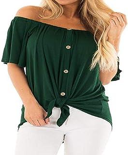 Primavera y Verano Nueva Camisa de manga corta con botones y cordones para mujer