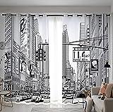 Lingli's shop Cortinas Salon Modernas 2 Piezas Calle Gris Retro de Nueva York...