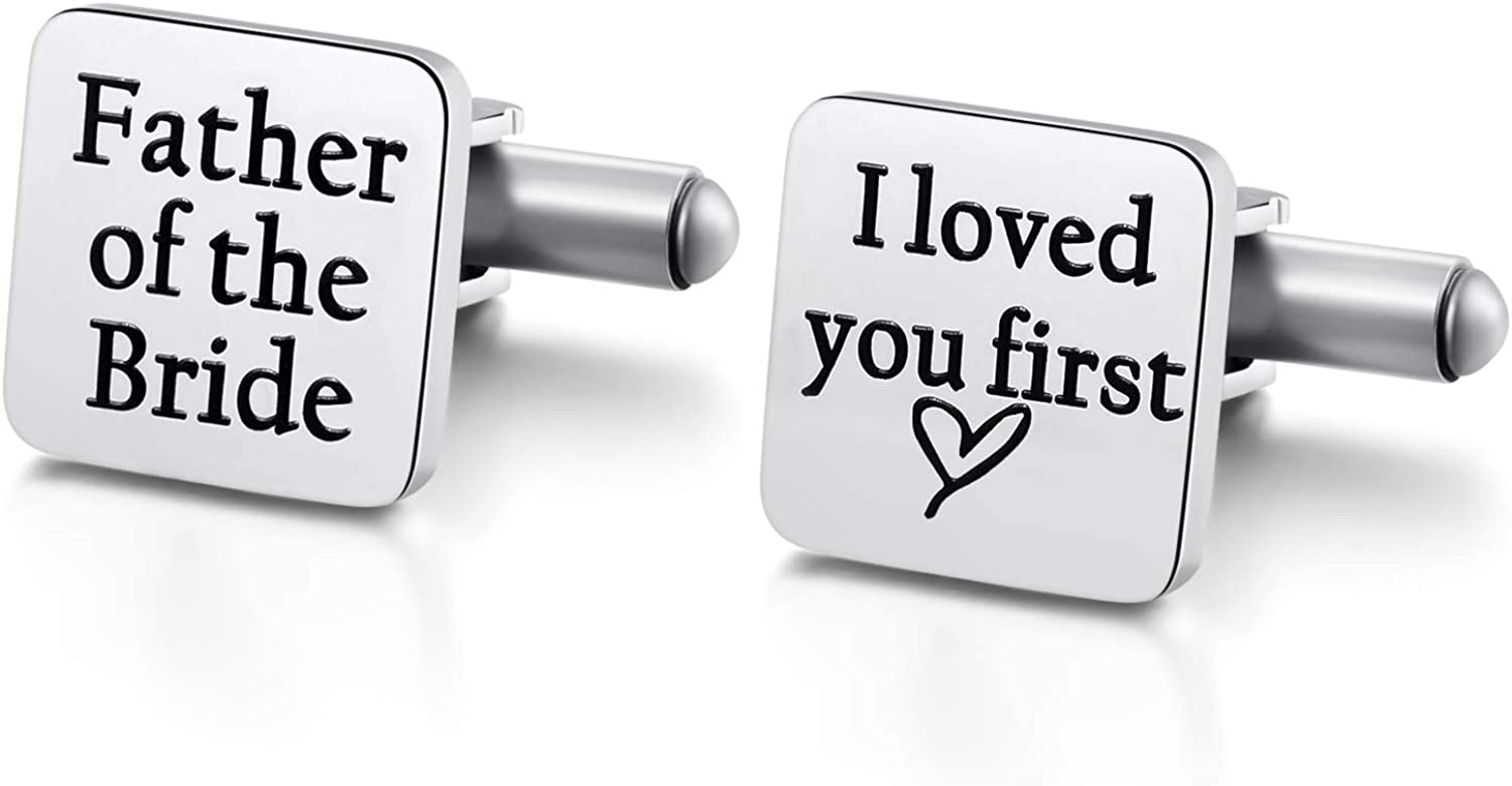 Ukodnus Father of The Bride Cufflinks, Father of The Bride Gift from Daughter, Gift for Dad on Wedding Day, I Loved You First Cuff Links