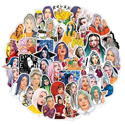 YMSD Billie Europeo Y Americano Cantante Pegatinas Portátil Personalizado Diy Impermeable Decoración Pvc Graffiti Pegatinas 50 unids