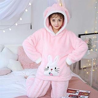 Generic Brands Pijamas de otoño e Invierno, Conjunto de Pijamas Gruesos y cálidos para Mujer, Conjuntos de Pijamas de Felpa coralina de Manga Larga, Pijamas