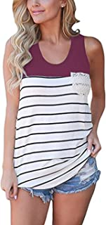 Women's Summer Color Block Striped Racerback Cami Tank Tops Sleeveless Tunic Tops T-Shirts