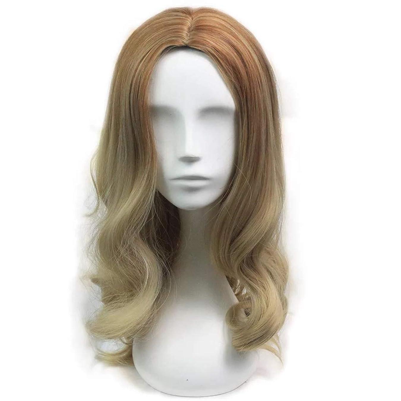 ブーストメダルマトンKoloeplf 女性用 ウィッグ ロング カーリーヘア フード ゴールド ブラウン 耐熱 ウィッグ (Color : Golden brown)