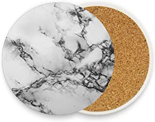 Naanle Black and White Marble Heat-resistant Washable Coaster, Prevent Furniture from Dirty and Scratched, Coasters Set Suitable for Kinds of Mugs and Cups, Set of 2