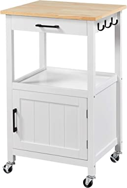 YAHEETECH Rolling Kitchen Island with Single Door Cabinet and Storage Shelf, Kitchen Cart with Drawer on Swivel Wheels for Di