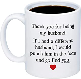 MyCozyCups Gifts For Husband - Thank You For Being My Husband Coffee Mug - Funny Cute Unique 11oz Cup For Couples, Partner, Him, Men - Valentine's Day, Birthday, Anniversary, Christmas Joke Gag Gift