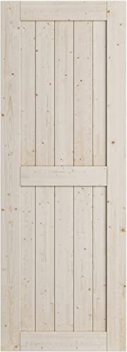 2021 SmartStandard discount 30in x 84in Sliding Barn Wood Door, outlet online sale Pre-Drilled Ready to Assemble, DIY Unfinished Solid Nature Wood Panelled Slab, Interior Single Door Only, Natural, H-Shape (Fit 5FT Rail) outlet online sale