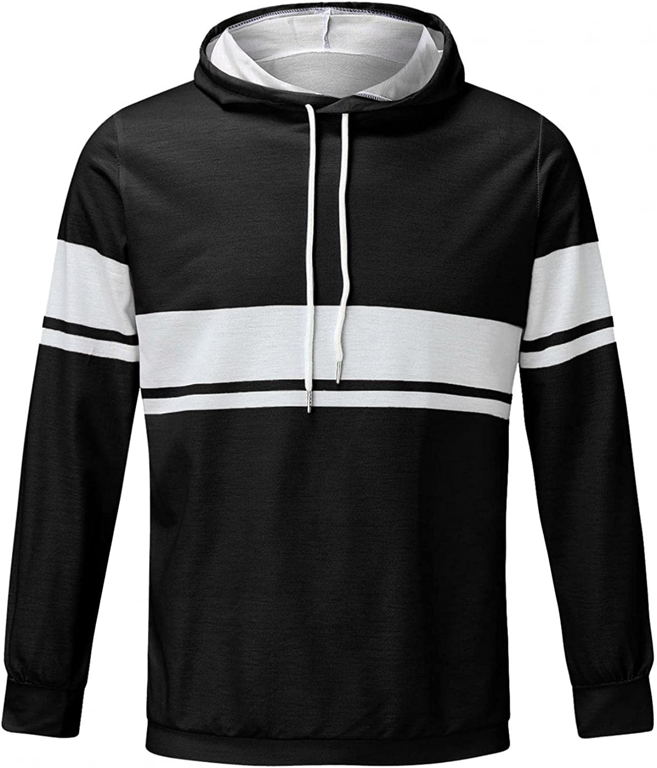 Men's Pullover Hooded Sweaters Autumn Winter Blue White Striped Printed Casual Hipster Gym Drawstring Hooded Sweater