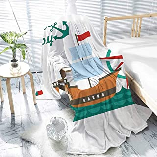 jecycleus Ahoy Its a Boy Luxury Special Grade Blanket Sail Boat on Sea Waves Lighthouse and Compass Anchor Icons Celebration Multi-Purpose use for Sofas etc. W57 x L74 Inch Teal Brown Red
