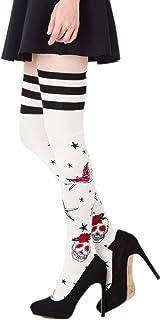 art manuel chiharu kikuchi ニーハイソックス タトゥー スカル柄 (22-25cm)(主成分 綿) 靴下 レディース オーバーニーソックス