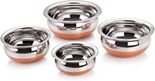 KSJ Stainless Steel Handi with Copper Bottom 550, 750, 1250, 1750 ml (Silver) - Set of 4