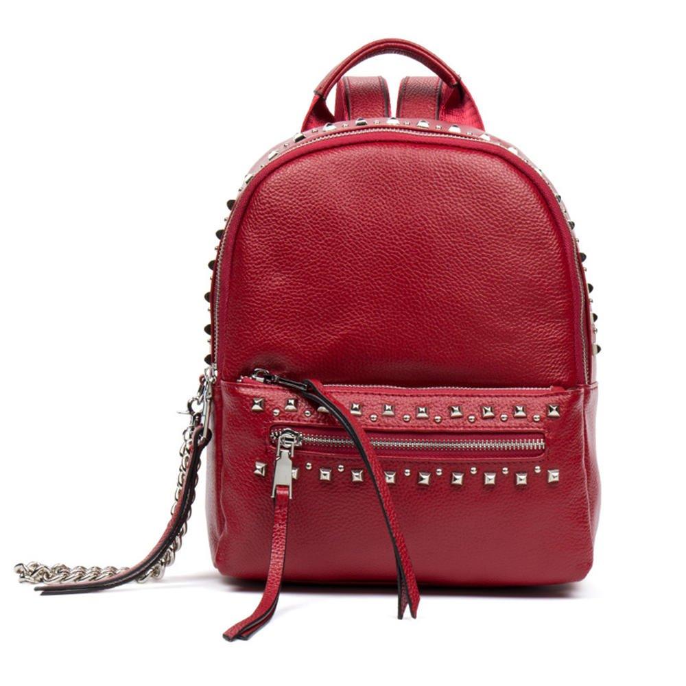 海谜璃(HMILY)新款头层牛皮潮流女士双肩包迷你朋克铆钉背包时尚简约大容量背包H7005 红色