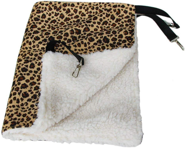 CFHJN HOME Comfortable Warm Pet Cat Kitty Cage Hanging Bed Hammock Blanket Cat Winter Supplies (53 x 35cm, Leopard Print) Pet Bed Blanket