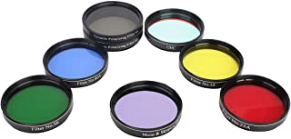 Gosky Telescope 2inch 7pcs Filters Set- 4 Plantary Color Filter, Moon Skyglow Filter, Variable Polarizing Filter, UHC Filter for 2inch Telescope Eyepieces