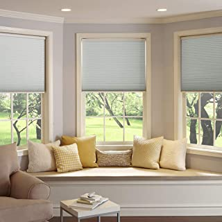 Cordless Cellular Honeycomb Window Shades, Top Down Bottom Up Free Stop Custom Made Light Filtering UV Protection Light Grey Window Blinds, 46