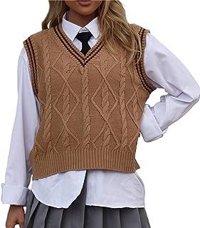 Women Knitted Vest Solid Color V Neck College Style Knitted Vest Sleeveless Vintage Sweater Vest