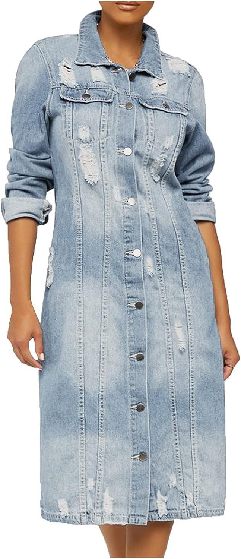 Smileyth Women's Long Denim Jacket Lapel Ripped - Sleeve It is Industry No. 1 very popular Bu