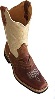 Men's Genuine Cow Hide Leather Cowboy Boots Square Toe Boots Black/Tan